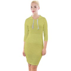 Yellow Fever Quarter Sleeve Hood Bodycon Dress by TimelessFashion