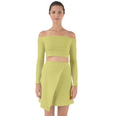 Yellow Fever Off Shoulder Top With Skirt Set