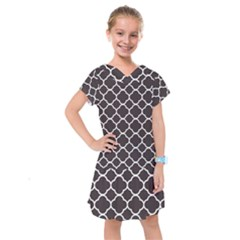Vintage Tile Black  Kids  Drop Waist Dress