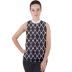 Vintage Tile Black  Mock Neck Chiffon Sleeveless Top
