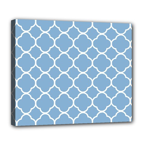 Vintage Tile Blue  Deluxe Canvas 24  X 20  (stretched)