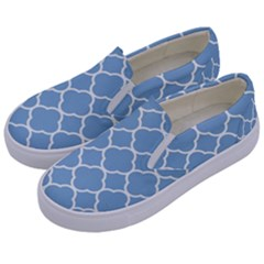 Vintage Tile Blue  Kids  Canvas Slip Ons by TimelessFashion