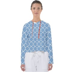 Vintage Tile Blue  Women s Slouchy Sweat