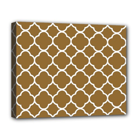 Vintage Tile Brown  Deluxe Canvas 20  X 16  (stretched)