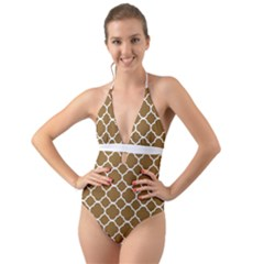 Vintage Tile Brown  Halter Cut-out One Piece Swimsuit by TimelessFashion