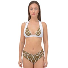 Vintage Tile Brown  Double Strap Halter Bikini Set