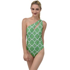 Vintage Tile Green  To One Side Swimsuit by TimelessFashion