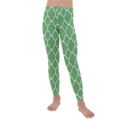 Vintage Tile Green  Kids  Lightweight Velour Leggings by TimelessFashion