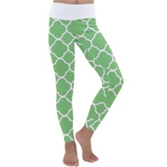 Vintage Tile Green  Kids  Lightweight Velour Classic Yoga Leggings by TimelessFashion