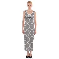 Vintage Tile Grey  Fitted Maxi Dress