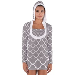 Vintage Tile Grey  Long Sleeve Hooded T Shirt by FEMCreations