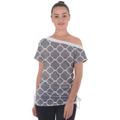 Vintage Tile Grey  Tie Up Tee by TimelessFashion