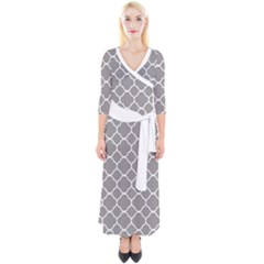 Vintage Tile Grey  Quarter Sleeve Wrap Maxi Dress