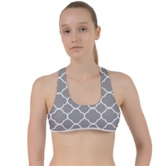 Vintage Tile Grey  Criss Cross Racerback Sports Bra by TimelessFashion
