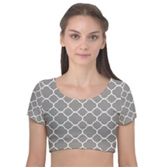 Vintage Tile Grey  Velvet Short Sleeve Crop Top  by TimelessFashion