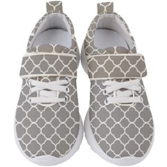 Vintage Tile Grey  Kids  Velcro Strap Shoes by TimelessFashion