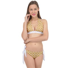Vintage Tile Orange  Tie It Up Bikini Set