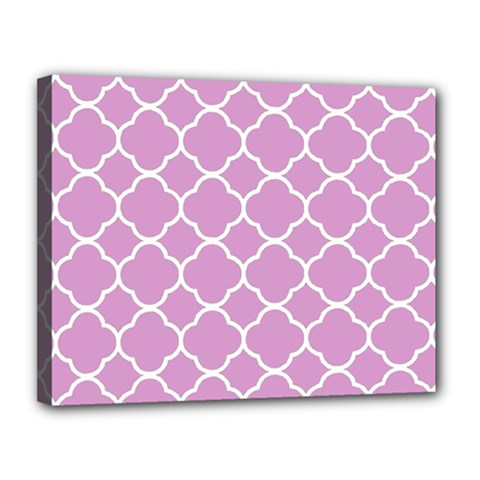 Vintage Tile Pink  Canvas 14  X 11  (stretched)