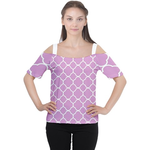 Vintage Tile Pink  Cutout Shoulder Tee by TimelessFashion