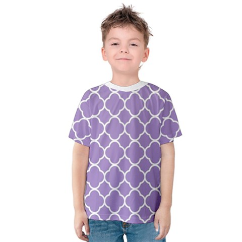 Vintage Tile Purple  Kids  Cotton Tee by TimelessFashion