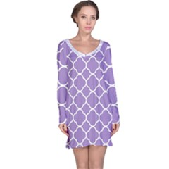 Vintage Tile Purple  Long Sleeve Nightdress by TimelessFashion