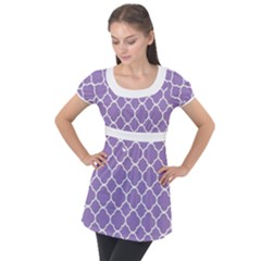 Vintage Tile Purple  Puff Sleeve Tunic Top by TimelessFashion