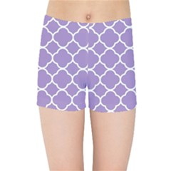 Vintage Tile Purple  Kids  Sports Shorts by TimelessFashion