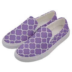 Vintage Tile Purple  Men s Canvas Slip Ons by TimelessFashion