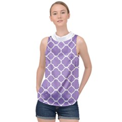 Vintage Tile Purple  High Neck Satin Top by TimelessFashion