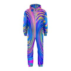 Cool Abstract Pink Blue And Yellow Twirl Liquid Art Hooded Jumpsuit (kids) by myrubiogarden