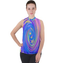 Cool Abstract Pink Blue And Yellow Twirl Liquid Art Mock Neck Chiffon Sleeveless Top by myrubiogarden