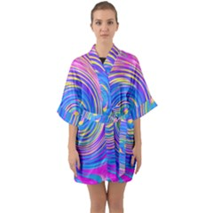 Cool Abstract Pink Blue And Yellow Twirl Liquid Art Quarter Sleeve Kimono Robe by myrubiogarden