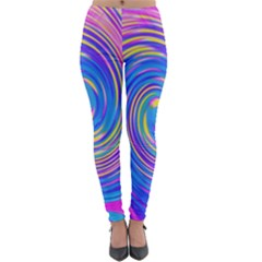 Cool Abstract Pink Blue And Yellow Twirl Liquid Art Lightweight Velour Leggings by myrubiogarden