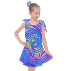 Cool Abstract Pink Blue And Yellow Twirl Liquid Art Kids  Tie Up Tunic Dress by myrubiogarden