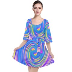 Cool Abstract Pink Blue And Yellow Twirl Liquid Art Velour Kimono Dress by myrubiogarden