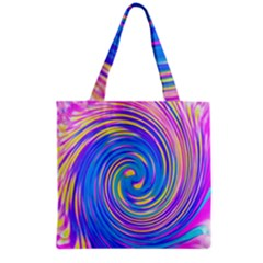 Cool Abstract Pink Blue And Yellow Twirl Liquid Art Grocery Tote Bag by myrubiogarden