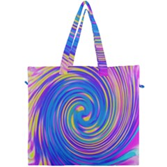 Cool Abstract Pink Blue And Yellow Twirl Liquid Art Canvas Travel Bag by myrubiogarden