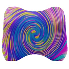 Cool Abstract Pink Blue And Yellow Twirl Liquid Art Velour Head Support Cushion by myrubiogarden