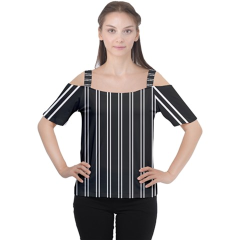 Nice Stripes Black Cutout Shoulder Tee by TimelessFashion