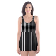 Nice Stripes Black Skater Dress Swimsuit by TimelessFashion