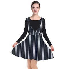 Nice Stripes Black Plunge Pinafore Dress by TimelessFashion