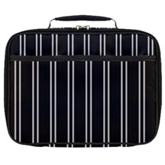 Nice Stripes Black Full Print Lunch Bag by TimelessFashion
