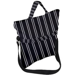 Nice Stripes Black Fold Over Handle Tote Bag by TimelessFashion