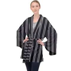 Nice Stripes Black Velvet Kimono Robe by TimelessFashion