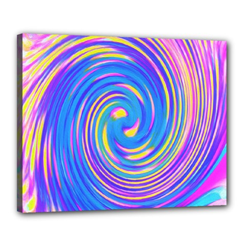 Cool Abstract Pink Blue And Yellow Twirl Liquid Art Canvas 20  X 16  (stretched)