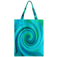 Groovy Cool Abstract Aqua Liquid Art Swirl Painting Classic Tote Bag by myrubiogarden