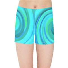 Groovy Cool Abstract Aqua Liquid Art Swirl Painting Kids  Sports Shorts by myrubiogarden