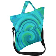 Groovy Cool Abstract Aqua Liquid Art Swirl Painting Fold Over Handle Tote Bag by myrubiogarden