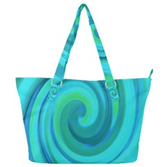 Groovy Cool Abstract Aqua Liquid Art Swirl Painting Full Print Shoulder Bag by myrubiogarden