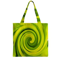 Groovy Abstract Green Liquid Art Swirl Painting Grocery Tote Bag by myrubiogarden
